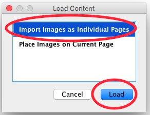 Import images as Individual pages location screeshot