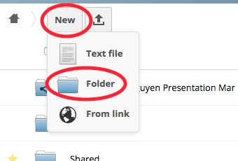 New and Folder button location