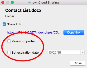 Password protect and Set expiration date option locations