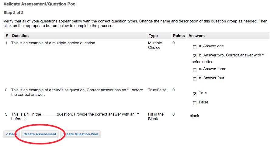 Create Assessment button location