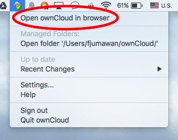 Open ownCloud in browser option location