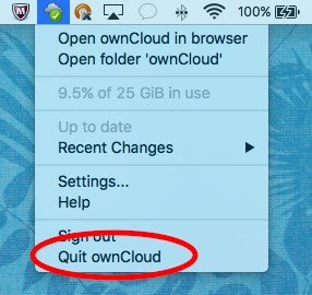 Quit ownCloud button location