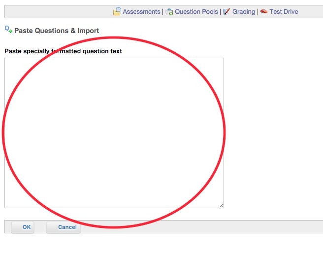 Paste Specially formatted question text box location