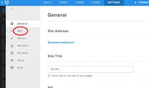 Weebly SEO button location