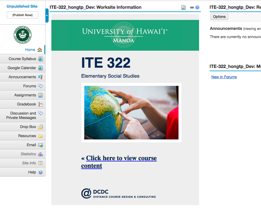 screenshot of example course site
